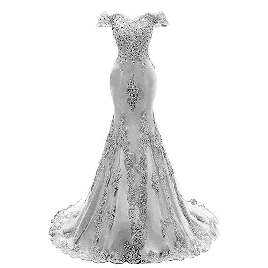 Wedding Dresses Women's Off The Shoulder Prom Dresses Long 2019