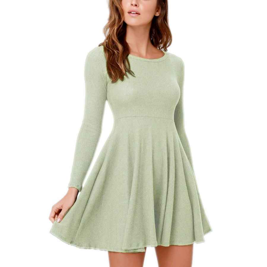 Womens Casual Dresses Fanfly Women's Long Sleeve Knit Tunic Dress Casual Swing Sweater T Shirt Dress For Party