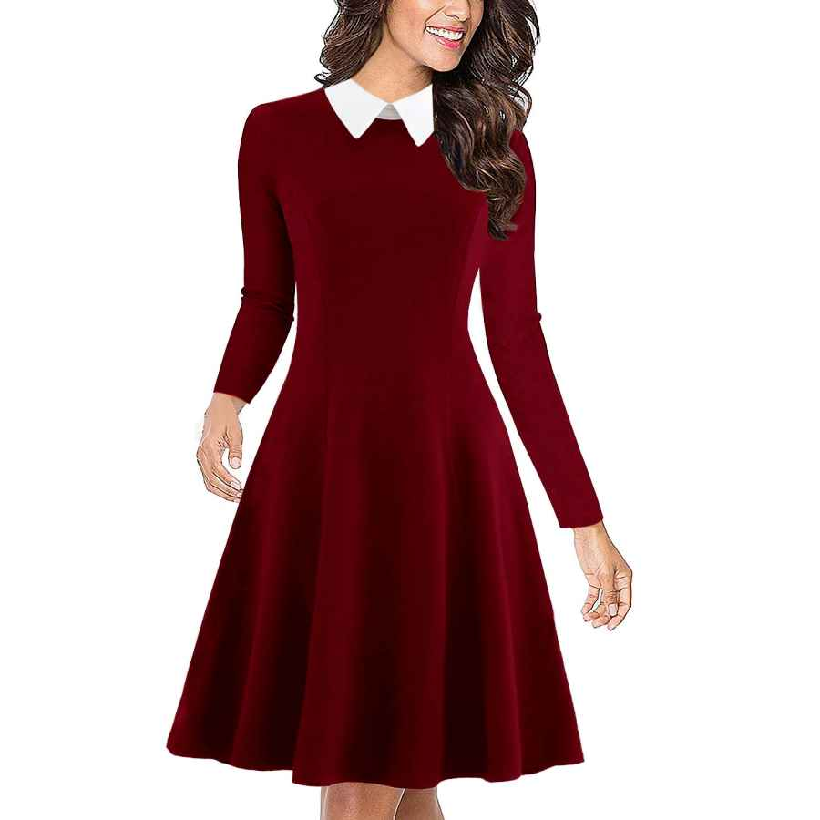 Womens Casual Dresses Drimmaks Women's Long Sleeve Peter Pan Collar Swing A-Line Party Casual Skater Dress