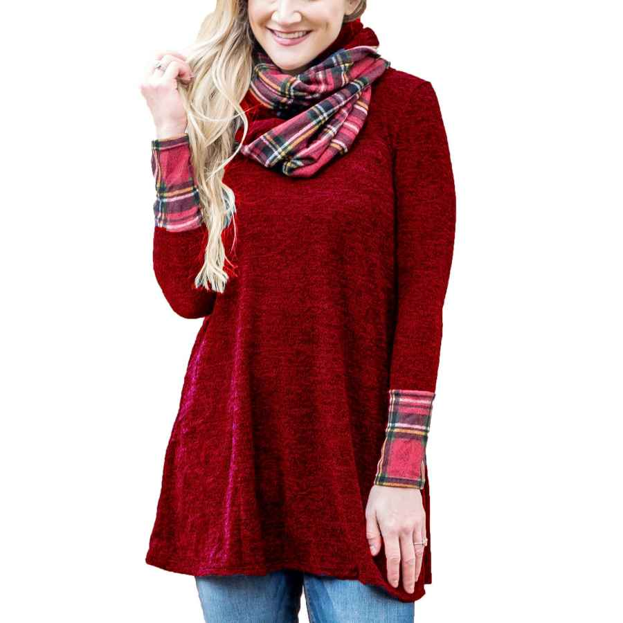 Womens Casual Dresses Misslook Women's Cowl Neck Dresses Long Sleeve Plaid Patch Casual Sweater Mini Tunic Dress