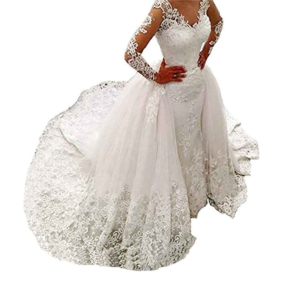 Wedding Dresses Women's Long Sleeves Lace Wedding Dresses Bridal Gown