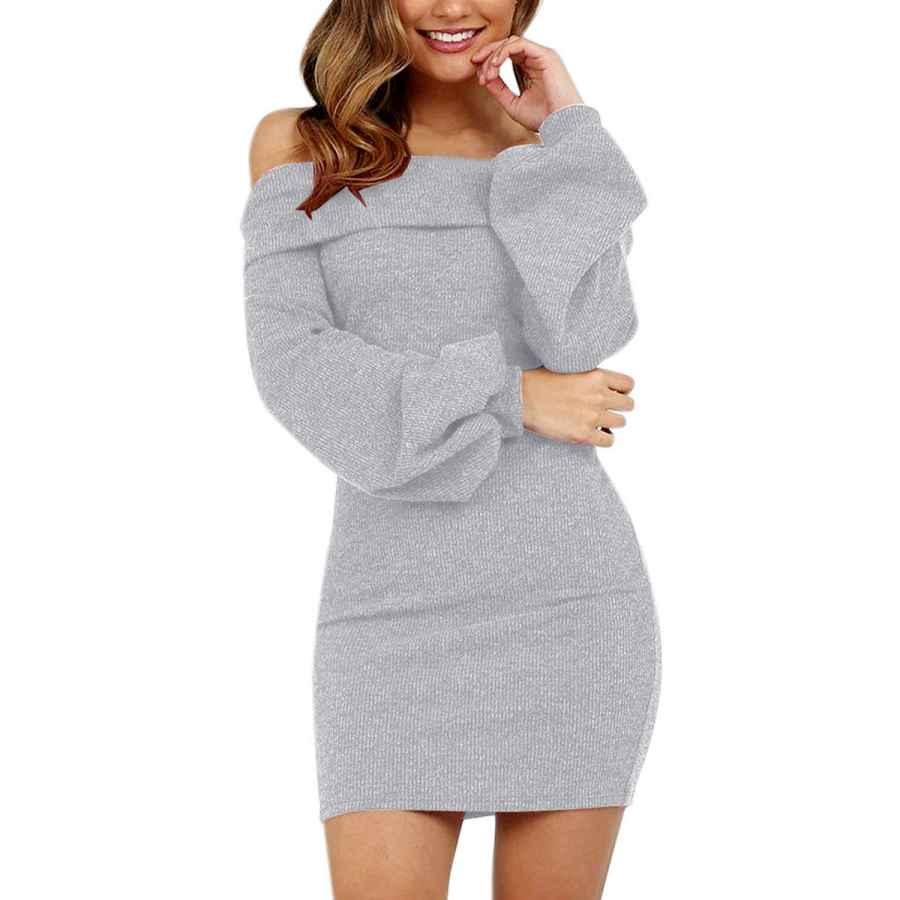 Womens Casual Dresses Olinase Women Off Shoulder Flare Long Sleeve Knit Sweater Dress Bodycon Elegant