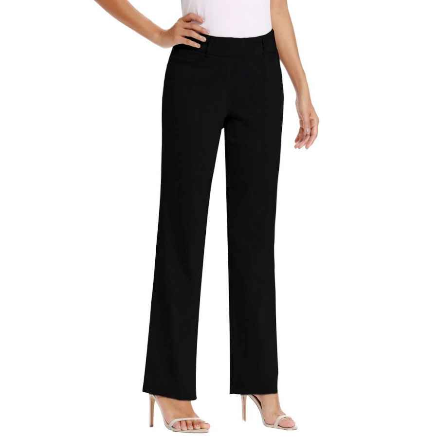 Pants Casual Vocni Women's Bootcut Stretch Elastic Waist Slim Fit