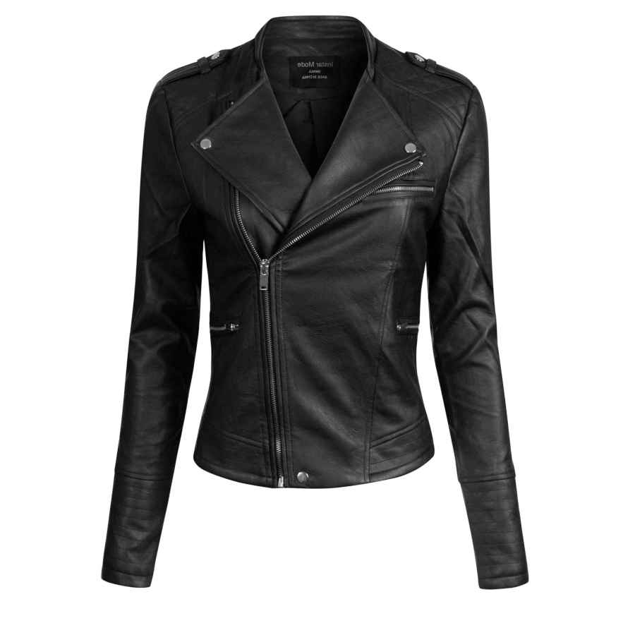 Brandslock Womens Classic Leather Biker Jacket Genuine Goat Skin
