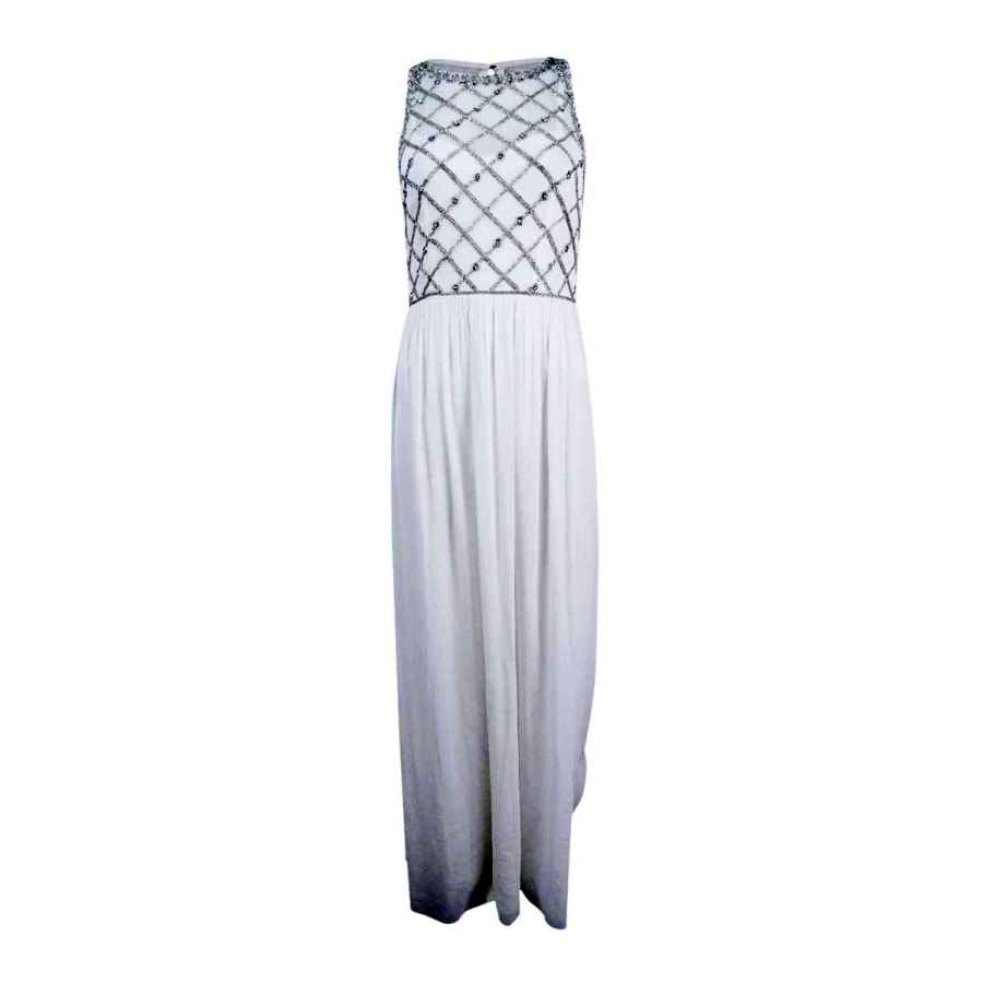 Wedding dresses adrianna papell women's illusion beaded top a-line gown