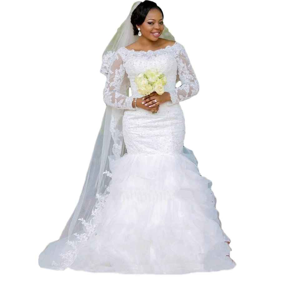 Wedding Dresses Women's Mermaid Wedding Dresses Ball Gown Long Sleeve