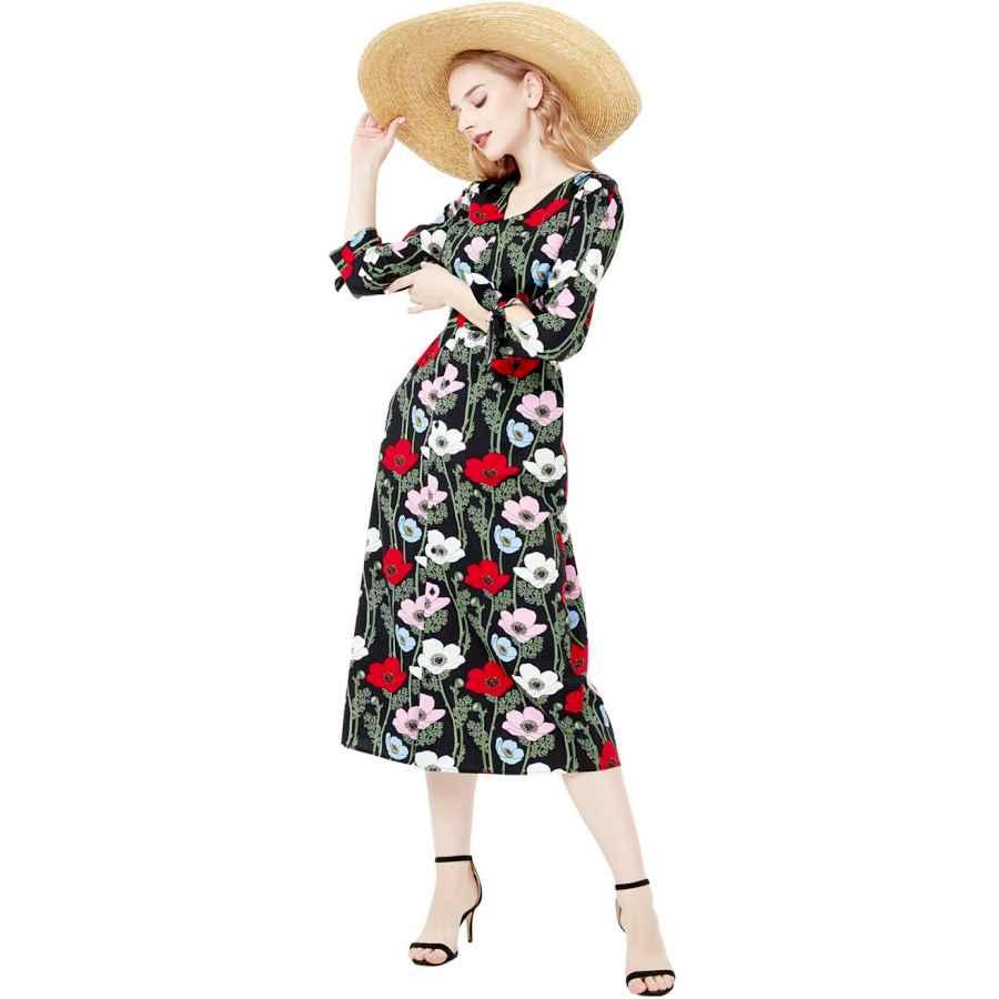 Womens Casual Dresses Basic Model Women's Floral Print Vintage V-Neck Boho 3/4 Sleeve Button Up Maxi Dress