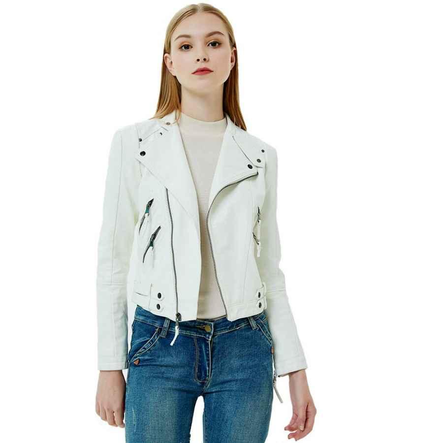 Gatti Women's Leather Jacket Zip Up Faux Leather Moto Biker Short Coat Jacket With Pocket