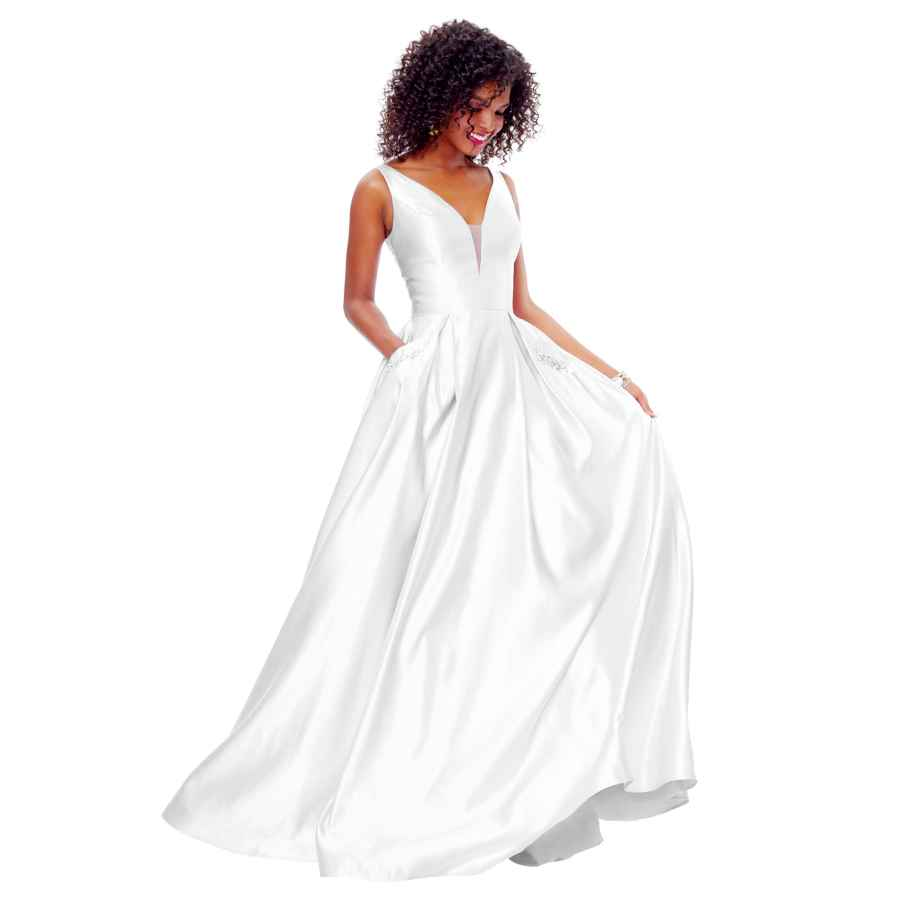 Wedding Dresses Zhongde Women's V Neck Open Back Beaded Satin