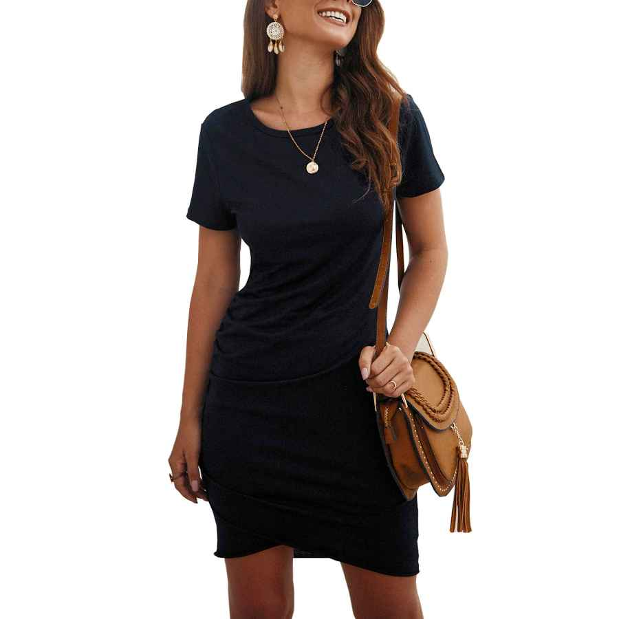 Womens Casual Dresses Btfbm Women's 2019 Casual Crew Neck Ruched Stretchy Bodycon T Shirt Short Mini Dress