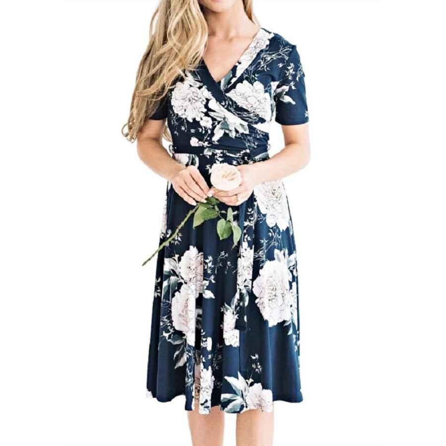 Party Dresses Womens Floral Print Boho Dress Vintage V Neck