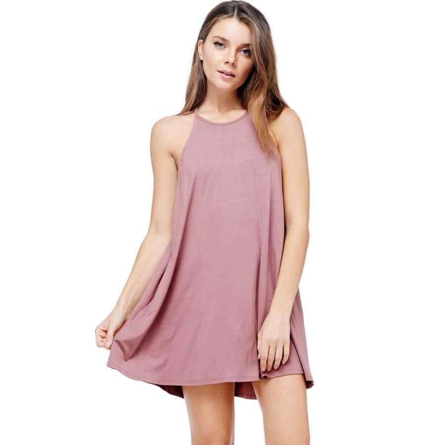 Womens Casual Dresses A+D Women's Halter Tank Summer Dress – Casual Flowy Swing Tunic Sundress