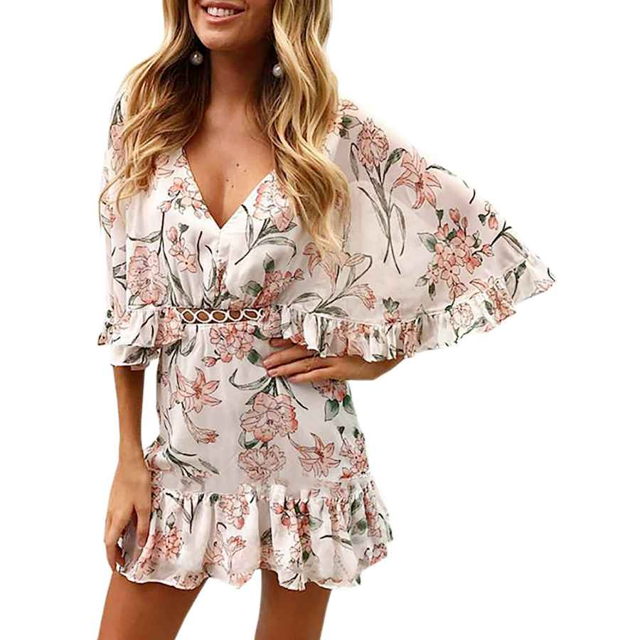 Womens Casual Dresses Ecowish Women's Dresses Floral Print V Neck Batwing Ruffle Hem Short Sleeve Hollow Out Boho Mini Dress