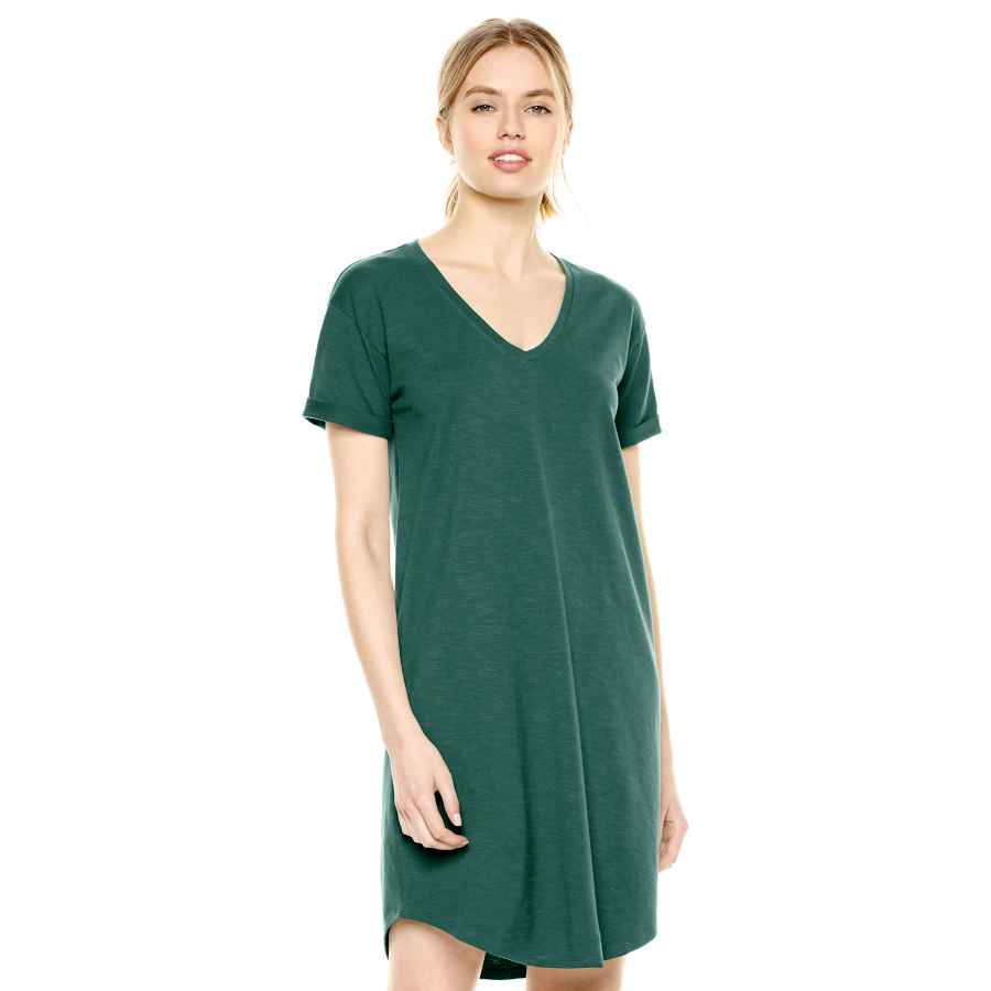 Womens Casual Dresses Amazon Brand - Daily Ritual Women's Lived-In Cotton Roll-Sleeve V-Neck T-Shirt Dress