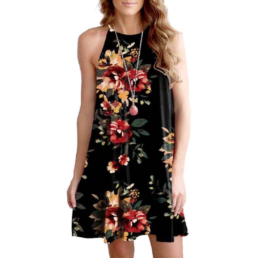 Womens Casual Dresses Feiersi Women Halter Neck Boho Print Sleeveless Casual Mini Beachwear Dress Sundress