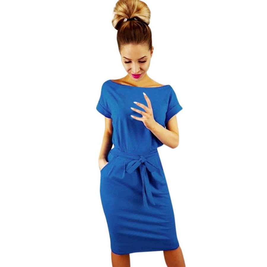 Party Dresses Tangsen Womens Casual Pocket Solid Summer Dress Ladies