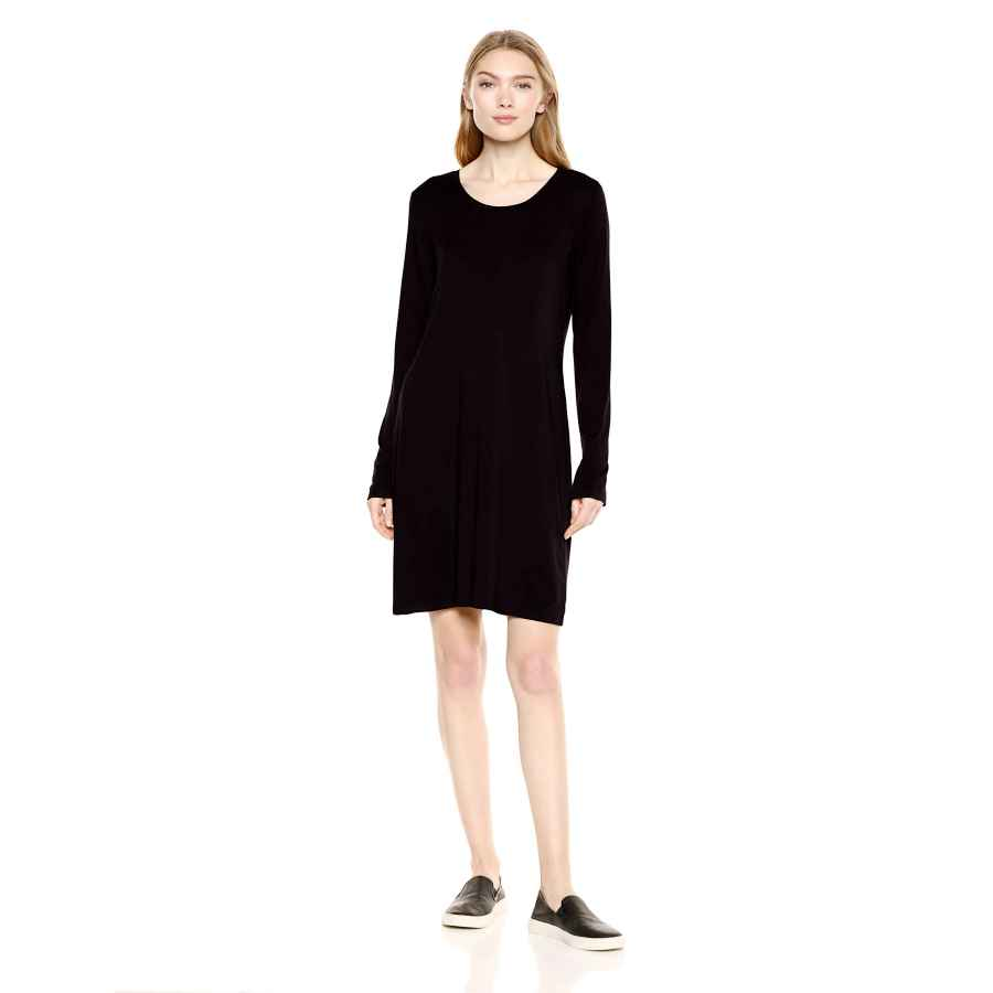 Womens Casual Dresses Amazon Brand - Daily Ritual Women's Jersey Long-Sleeve Scoop-Neck T-Shirt Dress