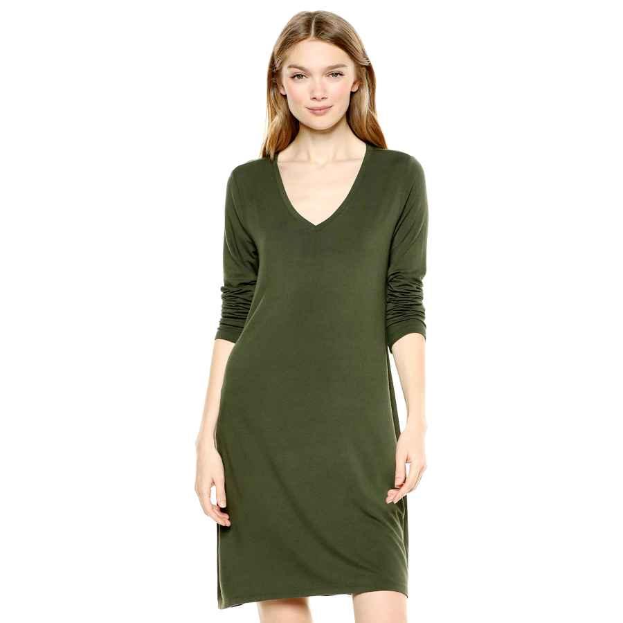Womens Casual Dresses Amazon Brand - Daily Ritual Women's Jersey Long-Sleeve V-Neck T-Shirt Dress