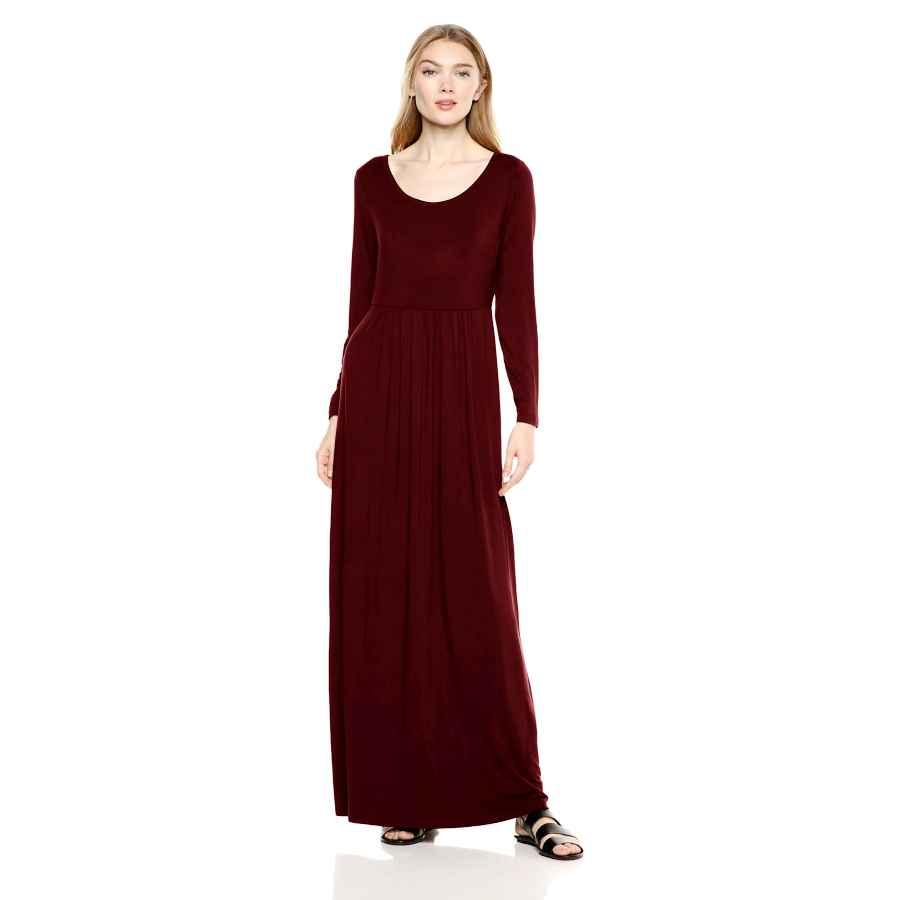 Womens Casual Dresses Amazon Brand - Daily Ritual Women's Jersey Long-Sleeve Empire-Waist Maxi Dress
