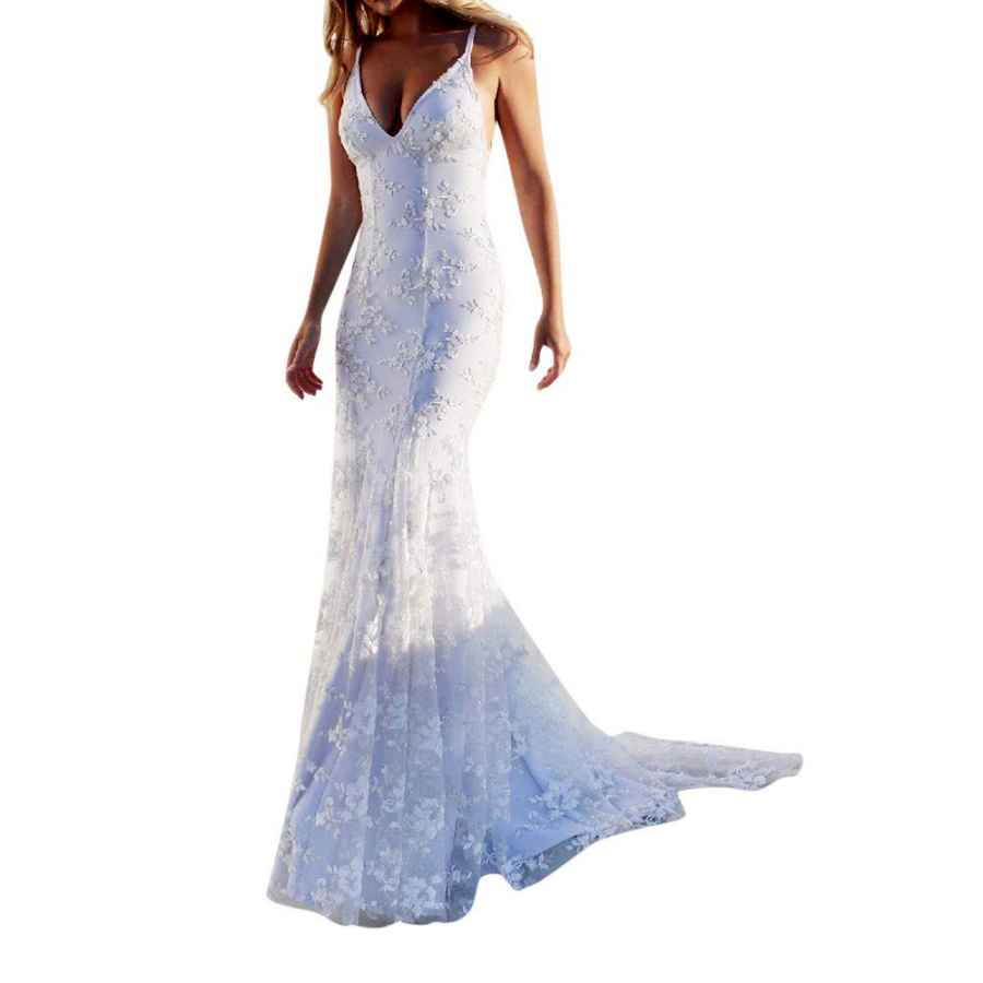 Wedding Dresses Topgee Women Wedding Sexy Backless Lace Appliques Mermaid