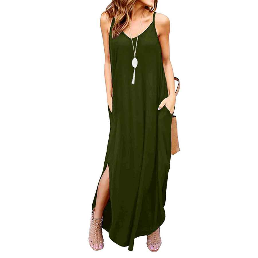 Womens Casual Dresses Kyerivs Women's Summer Casual Loose Dress Beach Cover Up Long Cami Maxi Dresses With Pocket