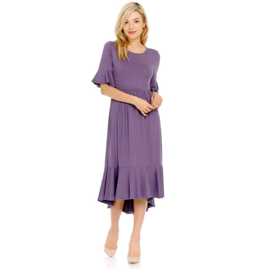 Womens Casual Dresses Iconic Luxe Women's Premium Knit Cropped Bell Midi Dress