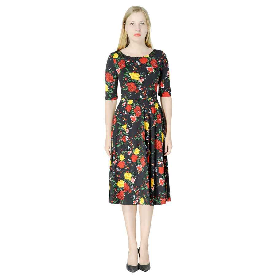 Womens Casual Dresses Marycrafts Women's Fit Flare Tea Midi Dress For Office Business Work