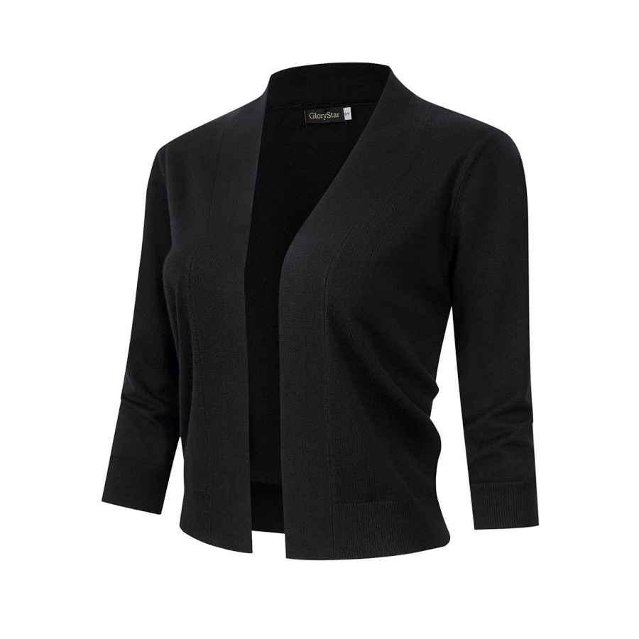 Cardigans Glorystar Women�â�€�™s 3/4 Sleeve Open Front Knit Cropped Cardigan