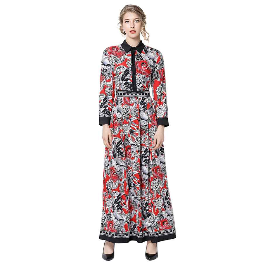 Womens Casual Dresses Women's Vintage Paisley & Floral Maxi Shirt Dress Causal A-Line Long Dress