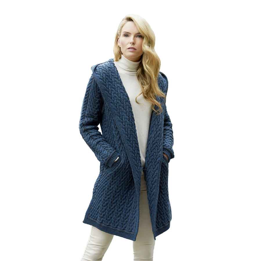 Aran Crafts Women's Irish Knit Herringbone Shawl Hood Coat (100% Merino Wool)