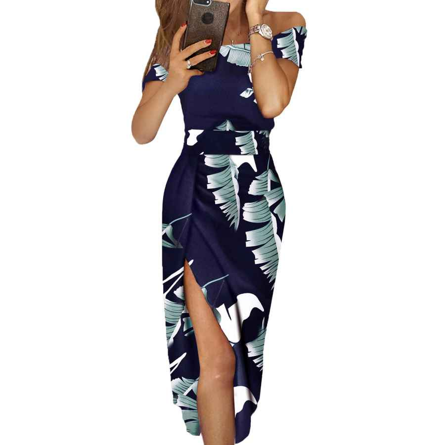 Womens Casual Dresses Dearlove Women's Casual Off The Shoulder Floral Print High Slit Evening Party Dress