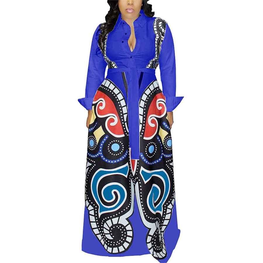 Womens Casual Dresses Aro Lora Women's African Print Deep V Neck 3/4 Sleeve High Slit Dashiki Long Maxi Dress