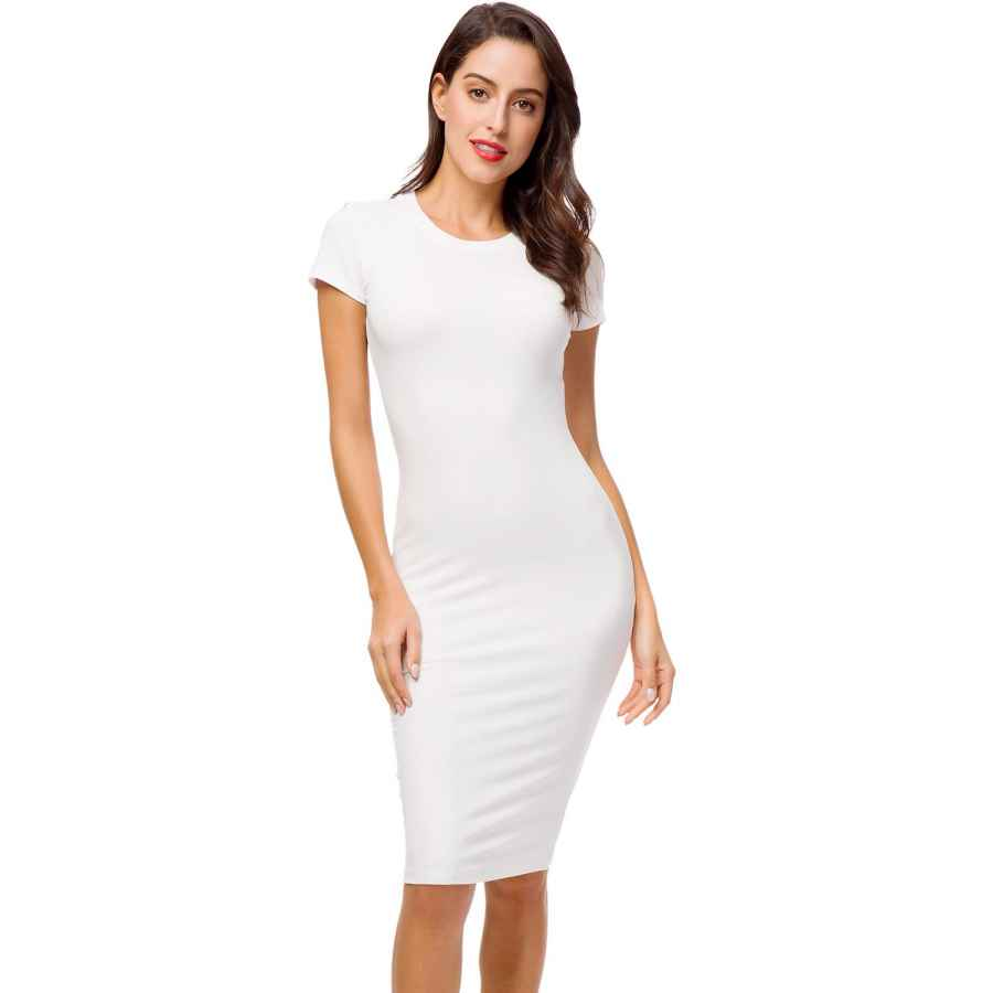 Womens Casual Dresses Acacia Flowers Women's Knitting Sexy Casual Short Sleeve Bodycon Tight Midi Dress Cocktail Party Pencil Dresses