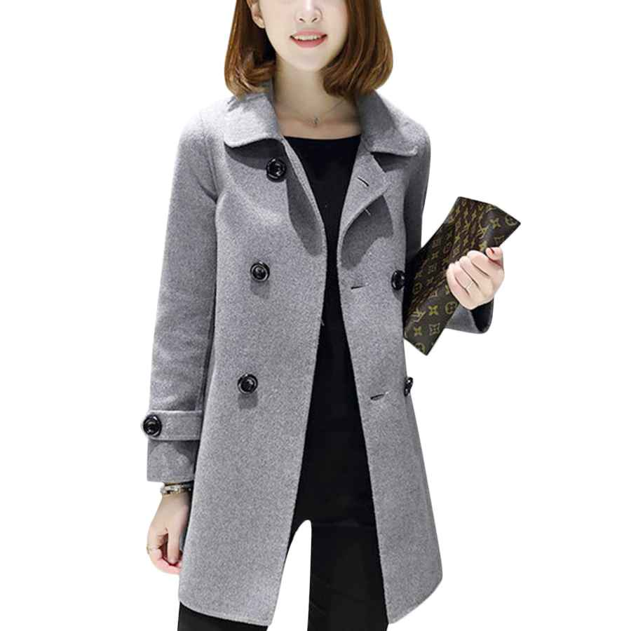 Tanming Women's Spring Casual Lapel Long Sleeve Double Breasted Pea Coat Jacket