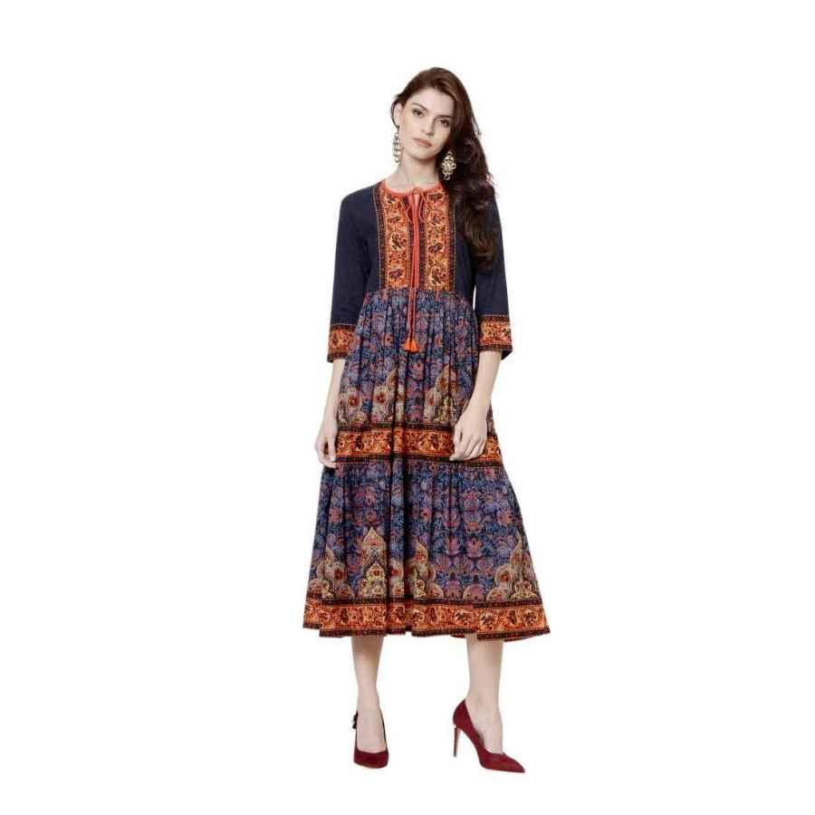 Womens Casual Dresses Dream Angel Fashion Women Dress Kurti Bollywood Designer Printed Anarkali Suit Kurta Ready To Wear