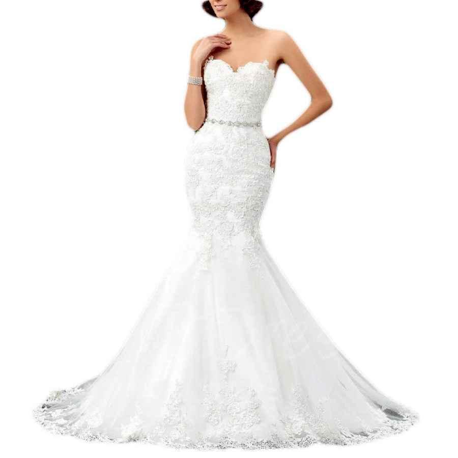 Wedding Dresses Women's Sweetheart Lace Applique Wedding Dress Mermaid Ruffles