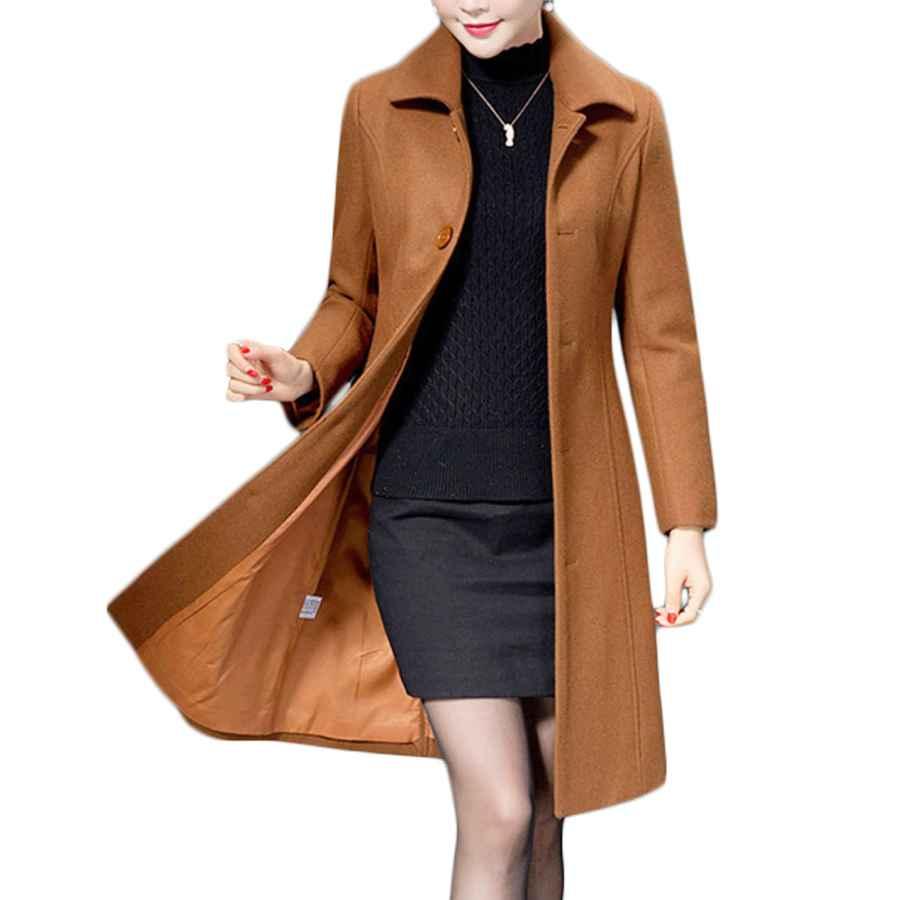 Jenkoon Women's Wool Trench Coat Winter Long Thick Overcoat Walker Coat