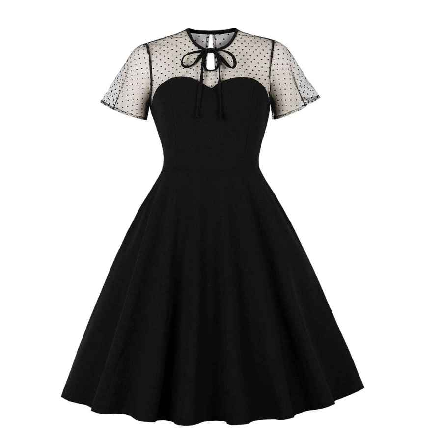 Womens Casual Dresses Wellwits Women's Polka Dots Embroidery Keyhole Tie Vintage Cocktail Dress