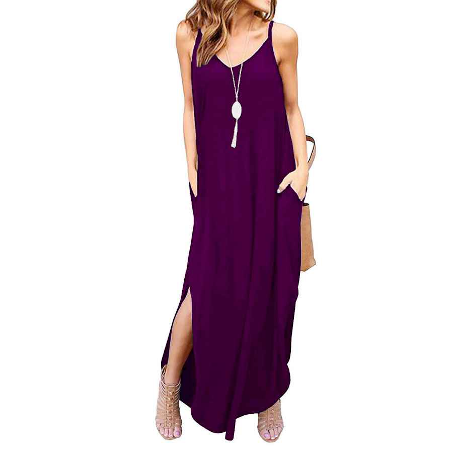 Womens Casual Dresses Todolor Women's Summer Casual Loose Dress Sleeveless Beach Cover Up Long Cami Maxi Dresses With Pocket