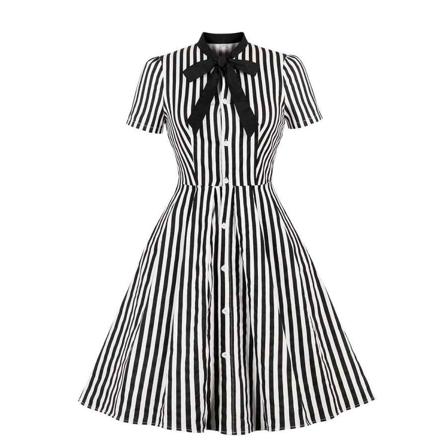 Womens Casual Dresses Wellwits Women's Stripes Print Tie Neck Pocket Vintage Button Down Shirt Dress