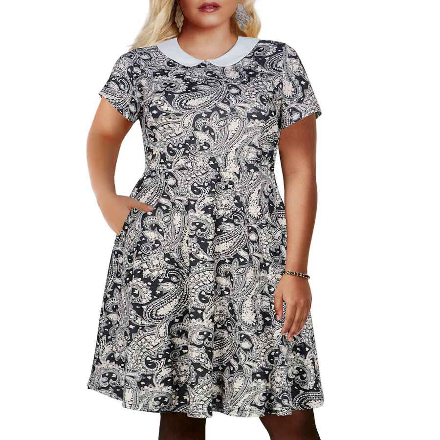 Womens Casual Dresses Nemidor Women's Peter Pan Collar Fit And Flare Plus Size Skater Party Dress