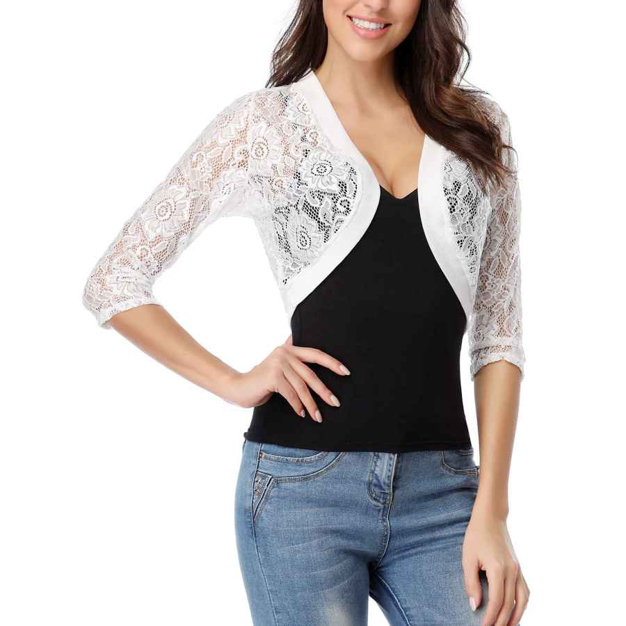 Atype Women's 3/4 Sleeve Bolero Jackets Crochet Open Cardigan Lace Shrugs For Dresses