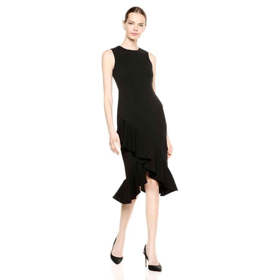 Womens Casual Dresses Calvin Klein Women's Sleeveless Midi Sheath With Ruffle Hem Dress