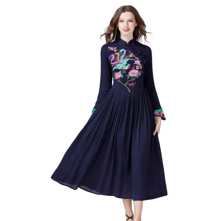 Womens Casual Dresses Shineflow Women's Long Sleeve Chinese Traditional Style Phoenix Floral Embroidered Long Dress