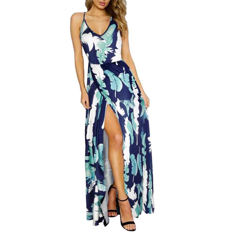 Womens Casual Dresses Ultranice Women's Summer Floral Backless Adjustable Spaghetti Strap Maxi Dress Split