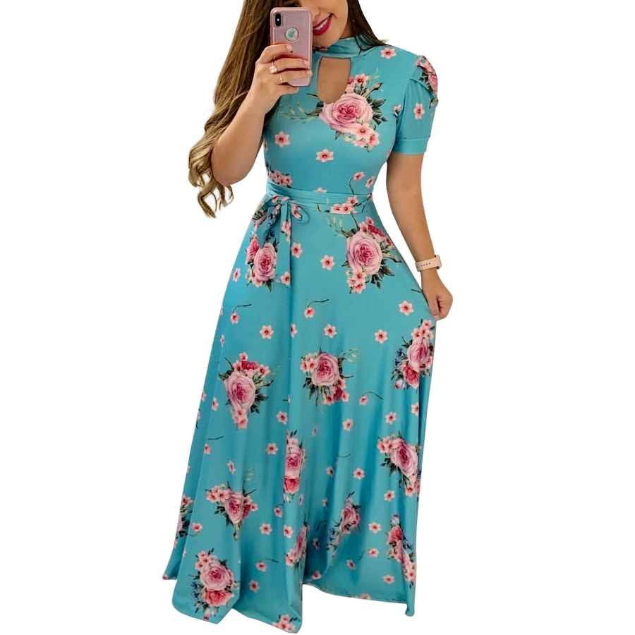 Womens Casual Dresses Women's Floral Maxi Dress With Pockets Modest Long Swing Dresses