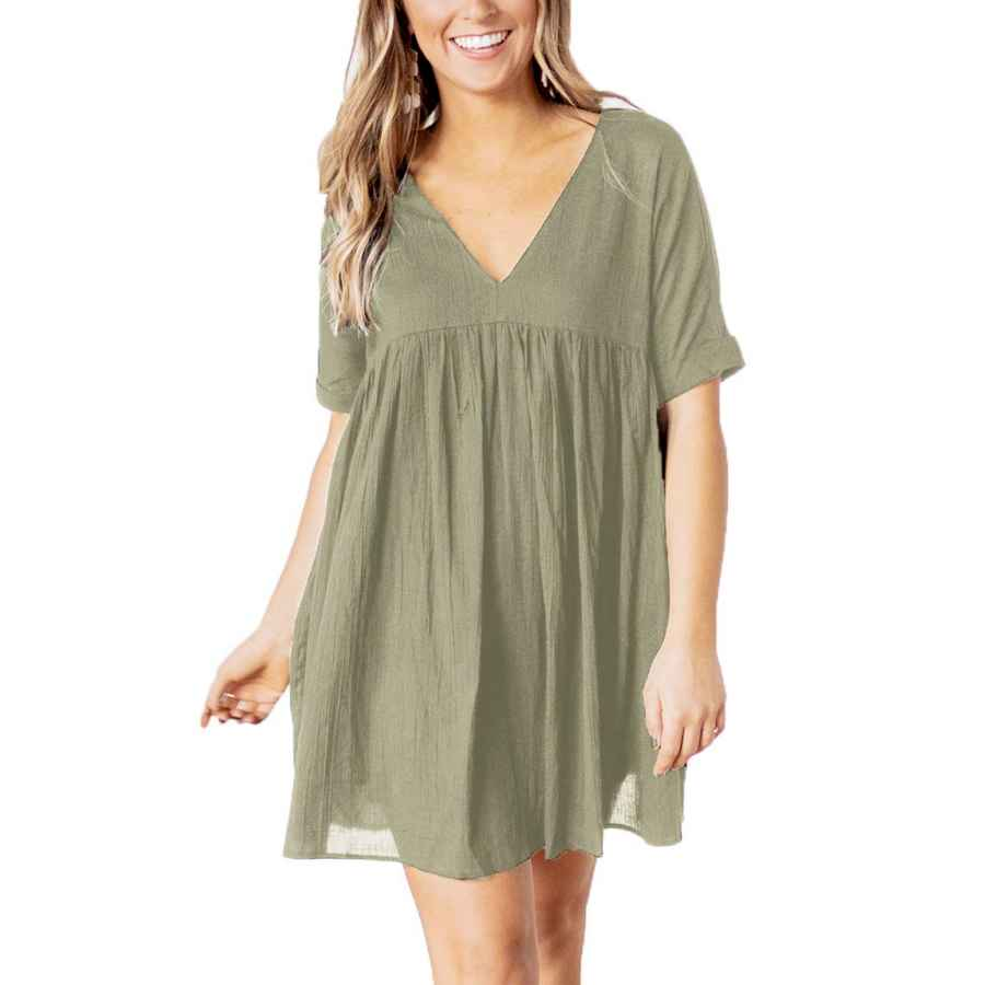 Womens Casual Dresses Yibock Women's Short Sleeve V Neck Pleated Loose Babydoll Solid Color Tunic Mini Dress