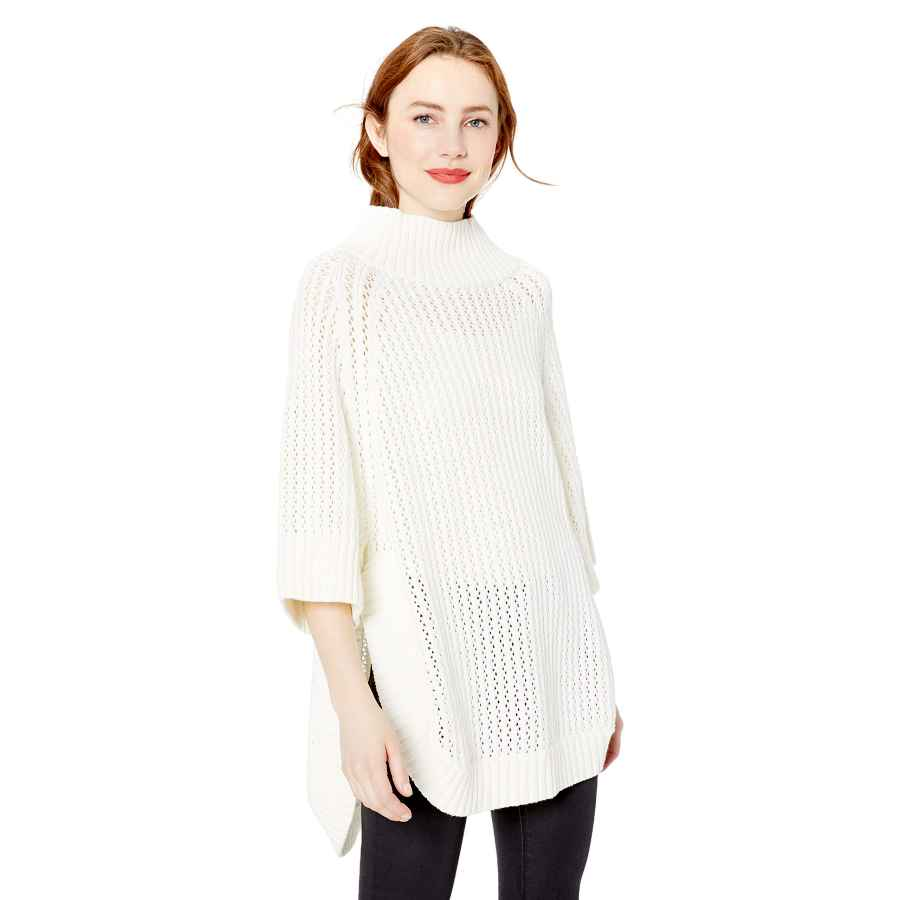 Pullower cable stitch women's rib-collar tunic sweater