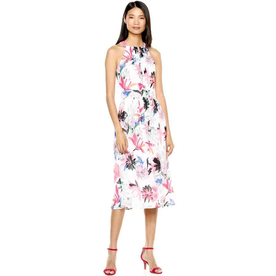 Womens Casual Dresses Nine West Women's Halter Neck Pleated Bodice Midi Dress