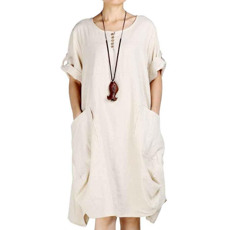 Womens Casual Dresses Laovanin Women's Plus Size Tunic Dress Summer Cotton Linen T Shirt Knee-Length Dresses